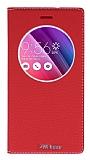 Asus ZenFone 2 Laser 5 inç Gizli Mıknatıslı Çerçeveli Kırmızı Deri Kılıf