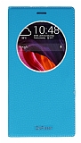 Asus Zenfone 2 Laser 6 inç Gizli Mıknatıslı Çerçeveli Mavi Deri Kılıf
