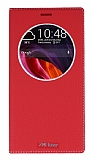 Asus Zenfone 2 Laser 6 inç Gizli Mıknatıslı Çerçeveli Kırmızı Deri Kılıf