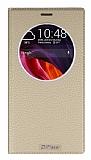 Asus Zenfone 2 Laser 6 inç Gizli Mıknatıslı Çerçeveli  Gold Deri Kılıf