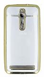 Eiroo Asus Zenfone 2 Taşlı Kenarlı Şeffaf Gold Silikon Kılıf