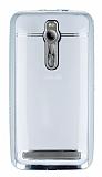 Eiroo Asus Zenfone 2 Taşlı Silver Kenarlı Şeffaf Silikon Kılıf