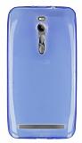 Eiroo Asus ZenFone 2 Ultra İnce Şeffaf Mavi Silikon Kılıf