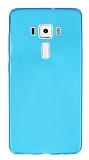 Asus ZenFone 3 Deluxe ZS570KL Ultra İnce Şeffaf Mavi Silikon Kılıf