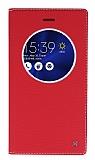 Eiroo Asus ZenFone 3 ZE552KL Gizli Mıknatıslı Pencereli Kırmızı Deri Kılıf