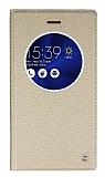 Eiroo Asus ZenFone 3 ZE552KL Gizli Mıknatıslı Pencereli Gold Deri Kılıf