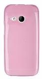 HTC One mini 2 Ultra İnce Şeffaf Pembe Silikon Kılıf