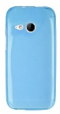 HTC One mini 2 Ultra İnce Şeffaf Mavi Silikon Kılıf