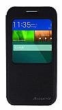 Eiroo Huawei Ascend G7 Vantuzlu Pencereli Siyah Deri Kılıf