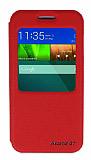 Eiroo Huawei Ascend G7 Vantuzlu Pencereli Kırmızı Deri Kılıf