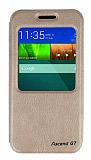 Eiroo Huawei Ascend G7 Vantuzlu Pencereli Gold Deri Kılıf