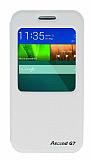Eiroo Huawei Ascend G7 Vantuzlu Pencereli Beyaz Deri Kılıf