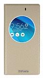 Eiroo Asus ZenFone Selfie Gizli M�knat�sl� Pencereli Gold Deri K�l�f
