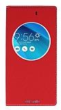 Asus ZenFone Selfie Gizli Mıknatıslı Çerçeveli Kırmızı Deri Kılıf