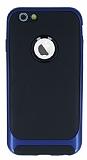 Eiroo Attractive iPhone 6 / 6S Lacivert Kenarlı Silikon Kılıf