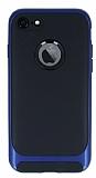 Eiroo Attractive iPhone 7 Lacivert Kenarlı Silikon Kılıf