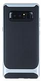 Eiroo Attractive Samsung Galaxy Note 8 Silver Kenarlı Silikon Kılıf