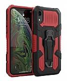 Eiroo Belt Hybrid iPhone XR Ultra Koruma Kırmızı Kılıf