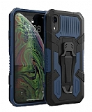 Eiroo Belt Hybrid iPhone XR Ultra Koruma Lacivert Kılıf