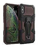 Eiroo Belt Hybrid iPhone XS Max Ultra Koruma Kahverengi Kılıf