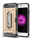 Eiroo Billfold iPhone 7 / 8 Kartlıklı Ultra Koruma Gold Kılıf
