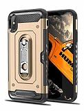 Eiroo Billfold iPhone X / XS Kartlıklı Ultra Koruma Gold Kılıf