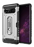 Eiroo Billfold Samsung Galaxy S10 Kartlıklı Ultra Koruma Silver Kılıf