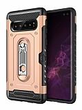 Eiroo Billfold Samsung Galaxy S10 Kartlıklı Ultra Koruma Gold Kılıf