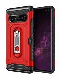 Eiroo Billfold Samsung Galaxy S10 Kartlıklı Ultra Koruma Kırmızı Kılıf
