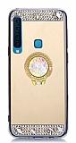 Eiroo Bling Mirror Huawei A7 2018 Silikon Kenarlı Aynalı Gold Rubber Kılıf