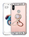 Eiroo Bling Mirror Huawei P Smart Plus Silikon Kenarlı Aynalı Rose Gold Rubber Kılıf