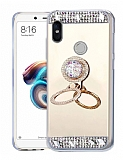 Eiroo Bling Mirror Huawei P Smart Plus Silikon Kenarlı Aynalı Gold Rubber Kılıf