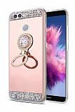 Eiroo Bling Mirror Huawei P Smart Silikon Kenarlı Aynalı Rose Gold Rubber Kılıf