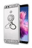 Eiroo Bling Mirror Huawei P Smart Silikon Kenarlı Aynalı Silver Rubber Kılıf
