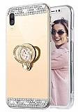 Eiroo Bling Mirror Huawei Y5 2019 Silikon Kenarlı Aynalı Gold Rubber Kılıf
