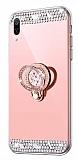 Eiroo Bling Mirror Huawei Y7 2019 Silikon Kenarlı Aynalı Rose Gold Rubber Kılıf