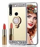 Eiroo Bling Mirror Huawei Y9 Prime 2019 / P Smart Z Silikon Kenarlı Aynalı Gold Rubber Kılıf
