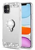Eiroo Bling Mirror iPhone 11 Silikon Kenarlı Aynalı Silver Rubber Kılıf