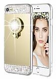 Eiroo Bling Mirror iPhone 6 / 6S Silikon Kenarlı Aynalı Gold Rubber Kılıf