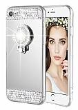 Eiroo Bling Mirror iPhone 6 / 6S Silikon Kenarlı Aynalı Silver Rubber Kılıf