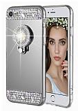 Eiroo Bling Mirror iPhone 7 / 8 Silikon Kenarlı Aynalı Siyah Rubber Kılıf