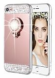 Eiroo Bling Mirror iPhone SE / 5 / 5S Silikon Kenarlı Aynalı Rose Gold Rubber Kılıf
