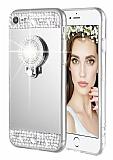 Eiroo Bling Mirror iPhone SE / 5 / 5S Silikon Kenarlı Aynalı Silver Rubber Kılıf