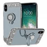 Eiroo Bling Mirror iPhone X / XS Silikon Kenarlı Aynalı Silver Rubber Kılıf