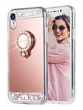 Eiroo Bling Mirror iPhone XR Silikon Kenarlı Aynalı Rose Gold Rubber Kılıf