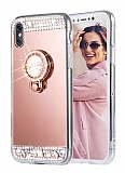 Eiroo Bling Mirror iPhone XS Max Silikon Kenarlı Aynalı Rose Gold Rubber Kılıf