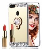 Eiroo Bling Mirror Oppo AX7 / Oppo A5s Silikon Kenarlı Aynalı Gold Rubber Kılıf