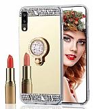 Eiroo Bling Mirror Samsung Galaxy A01 Silikon Kenarlı Aynalı Gold Rubber Kılıf