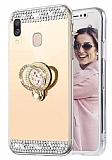 Eiroo Bling Mirror Samsung Galaxy A10S Silikon Kenarlı Aynalı Gold Rubber Kılıf