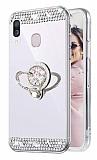 Eiroo Bling Mirror Samsung Galaxy A10S Silikon Kenarlı Aynalı Silver Rubber Kılıf